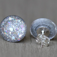 Fake Plugs : Silver Duochome Glitter, Rainbow, Happy Birthday, Glass Stud Earrings, Sterling Silver Posts, 12mm, Galaxy Earrings