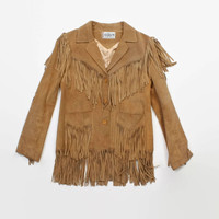 Vintage 70s FRINGE Leather Jacket / 1970s Sandy Brown Western Suede Jacket S - M