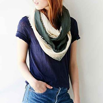Geo Lace Inset Eternity Scarf- Olive One