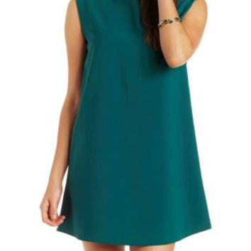 Forest Green Mock Neck Shift Dress by Charlotte Russe