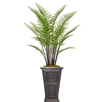 "60.8"" Fern Artificial Plant with Burlap Kit in 26.8"" Black/ Bronze Fiberstone Planter"