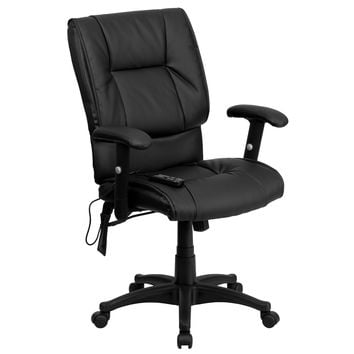 Executive Mid-Back Massaging Black Leather Executive Swivel Office Chair