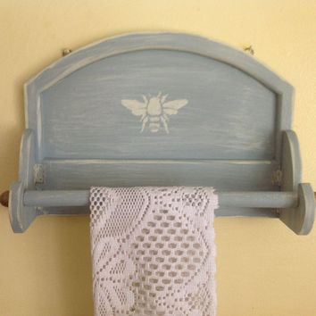 Paper towel holder, shabby chic, up-cycled, wall, kitchen, on sale now, chalk paint, blue green, 13""