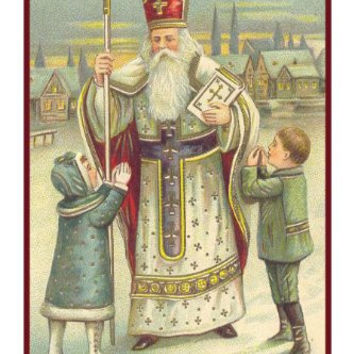 Victorian Religious Father Christmas Santa with Small Children Counted Cross Stitch or Counted Needlepoint Pattern