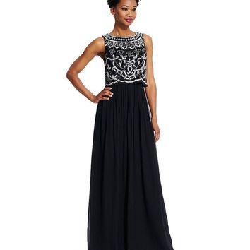Adrianna Papell - Sequined Bateau Neck Dress 91928840