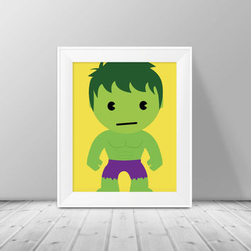 Super Hero Decor - The Hulk Print,  Superhero Art, Instant Download , PRINTABLE 8x10, Kids Wall Art , Nursery Wall Art, Playroom Art
