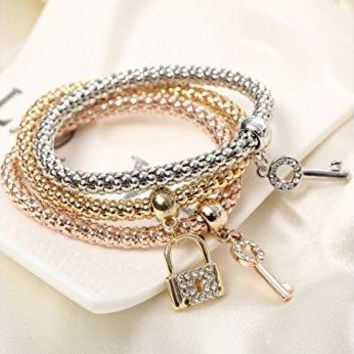 Global Huntress Crystal Beaded TriTone Stretch Rope Bracelet Set in Gold Tone Rose Gold amp Silver