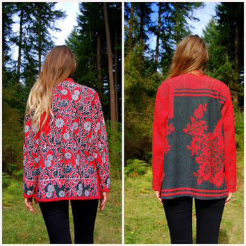 Quilted Kantha Jacket / Reversible Hippie Boho Coat Festival Top / Gypsy Ethnic Paisley Coat / Red Black and White Batik Jacket Large