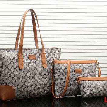 Gucci Women Fashion Leather Satchel Tote Shoulder Bag Crossbody Wallet Three Piece Set-3