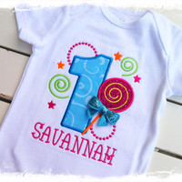 1st Lollipop Birthday Bodysuit -Monogrammed Lollipop Birthday Shirt-Girls1st birthday One Piece-1st Birthday Cake Smash