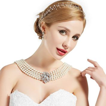 1920s Gatsby Vintage Bridal Wedding Pearl Necklace Jewelry Set with Brooch