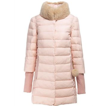 Rabbit fur collar down jacket in the long section of thicker coat temperament Pink