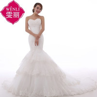 Princess beaded lace 2015 new mermaid long wedding dress elegant Princess Bride lace = 1930049348