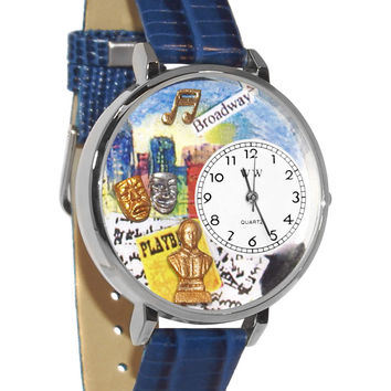 Whimsical Watches Designed Painted Drama Theater Royal Blue Leather And Silvertone Watch