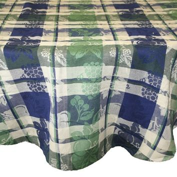 "Handmade Cotton Floral Plaid Jacquard Grapevine Tablecloth 70"" Round 60x90 Inches Rectangular 60x60 Square"