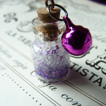 Fairy Magic Powder Mini Bottle Glass Necklace - Choose Color and Length