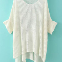 White Half Sleeve Slit Knit Sweater