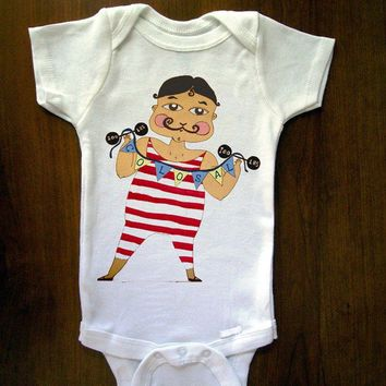 Strongest Man Alive Baby One Piece Bodysuit by trulysanctuary