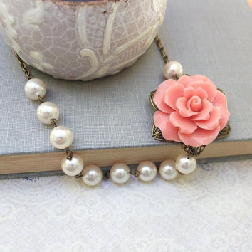 Coral Rose Necklace Large Rose Statement Necklace Asymmetrical Flower Pendant Vintage Style Ivory Cream Pearl Necklace Floral Jewelry