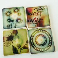 READY TO SHIP Coasters - Whimsical Coasters - Sun and Nature Coasters - Natural Stone - Any Occasion Gift - Home Decor - Set of 4
