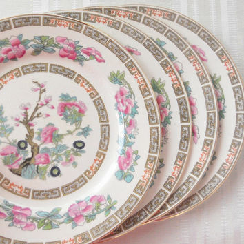 Morley and Fox Indian Tree Bread and Butter Plates, Set of 4, Vintage, Tea Parties, Wedding, English Bone China, Replacement China