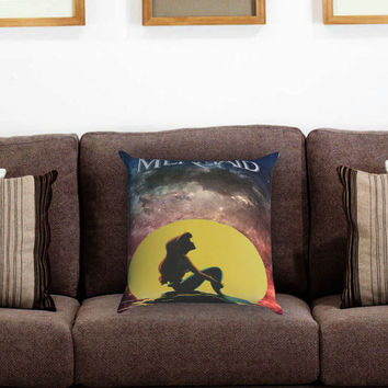 The Little Mermaid In the Moon Pillow Cover , Custom Zippered Pillow Case One Side Two Sides