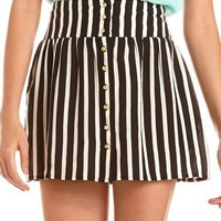 Striped Button-Front Challis Skirt: Charlotte Russe