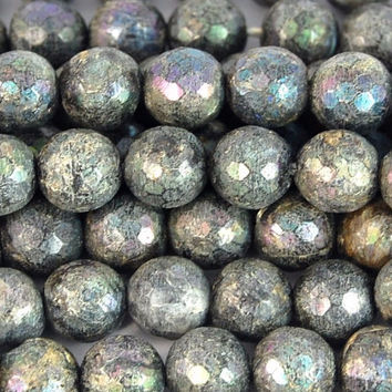 Electroplate LABRADORITE 8mm Gemstone Beads, Faceted -15 inch strand