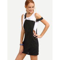 Don't Rock The Boat Ripped Black Denim Overall Dress - Black