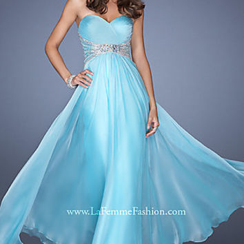 Floor Length Strapless Gown by La Femme