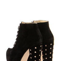 Zina Black Studded Block Heel Lace Up Shoe Boots