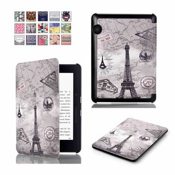For Amazon Kindle Voyage 6.0 inch Tablet Case Leather Printed Paint Pattern Magnetic Smart Folio Casual Protective e-book Cover