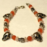Halloween bracelet, candy corn, spooky, skull, moonstone, orange topaz, custom length, charm bracelet, skull beads
