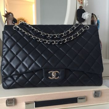 Chanel Classic Black Lambskin Single Flap Maxi Bag with Silver Hardware