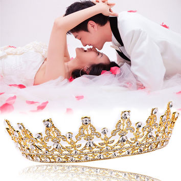 Vintage Crystal Gold Crown Bridal Headwear Wedding Tiara Hair Accessories Hair Jewelry for Bride
