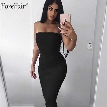 Forefair Sexy Long Dress Women Summer 2019 Club Off Shoulder Strapless
