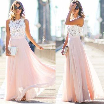 LMFON Temperament Fashion Lace Stitching Chiffon Gauze Sleeveless Maxi Dress