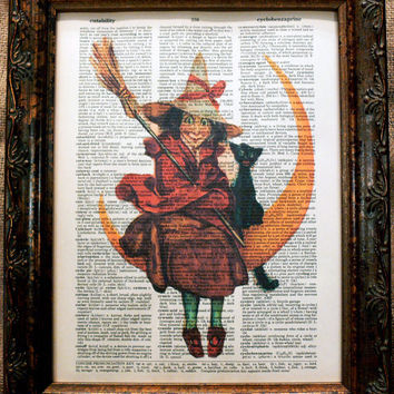 Halloween Witch with Black Cat and Moon Art Print on Vintage Dictionary Book Page