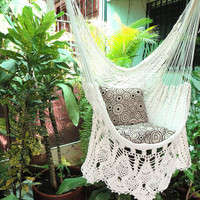 Beige Sitting Hammock, Hanging Chair Natural Cotton and Wood plus Presidential Fringe