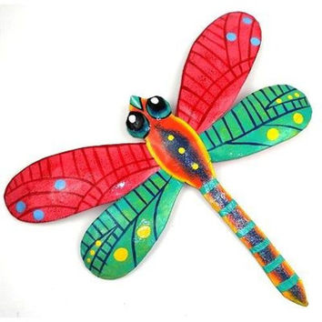 11 Inch Pink Metal Dragonfly Haitian Metal Wall Art