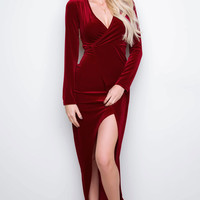 Camden Velvet Dress - Burgundy