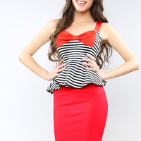 Big Ribbon Stripe Peplum Top