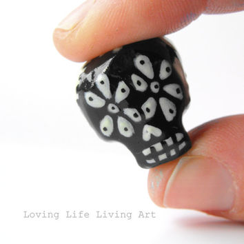 Dreadlock Bead 8mm Dread Bead Sugarskull Sugar Skull One of A Kind Hand Cast Hand Painted Resin Bead for Dreads