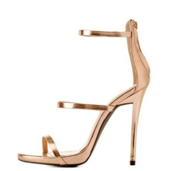 Rose Gold Metallic Triple Strap Dress Sandals by Charlotte Russe