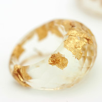Gold leaf faceted dome ring, eco-resin ring