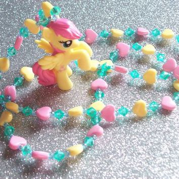 Sweet Fluttershy and Hearts Necklace from On Secret Wings