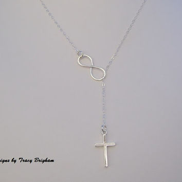 Infinity Cross Sterling Silver Lariat Necklace Best Friend Bridesmaid Maid of Honor Mother Sister Christmas Gift for Her