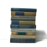 Blue Tan Taupe Collection Vintage old Books