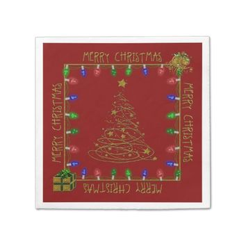 Merry Christmas Lights-Red-2-PAPER NAPKINS