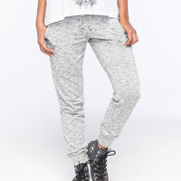 Almost Famous French Terry Womens Jogger Pants Black/White  In Sizes